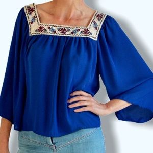 Flying Tomato Embroidered Peasant Blouse